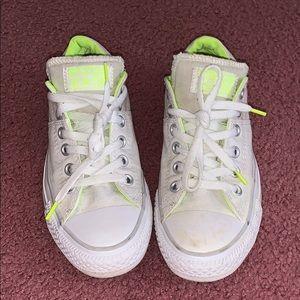 White and neon converse